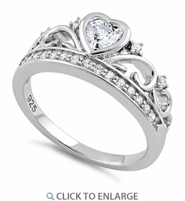 Sterling Silver Heart Crown Clear CZ Ring