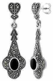 Sterling Silver Heart Drop Oval Black Onyx Marcasite Earrings