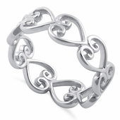 Sterling Silver Heart Eternity Ring