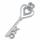 Sterling Silver Heart Key XO Clear CZ Pendant