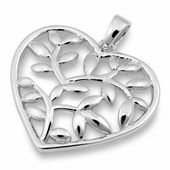 Sterling Silver Heart Leaf Pendant