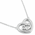 Sterling Silver Heart Paw Necklace