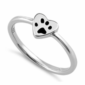 Sterling Silver Heart & Paw Ring