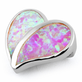 Sterling Silver Heart Pink Lab Opal Pendant