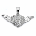 Sterling Silver Heart with Wings CZ Pendant