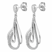 Sterling Silver Hoop Dangle CZ Earrings