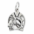 Sterling Silver Horse in Horse Shoe Pendant