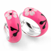 Sterling Silver Hot Pink Flower Enamel Hoop Earrings
