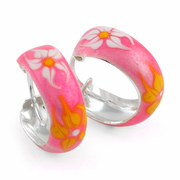 Sterling Silver Hot Pink Enamel Hoop Earrings
