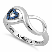 """Sterling Silver Infinity Blue Spinel Heart """"Always & Forever"""" Engraved CZ Ring"""