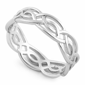 wave rings circle silver ring en crown