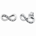 Sterling Silver Infinity CZ Stud Earrings