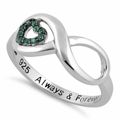 """Sterling Silver Infinity Emerald Heart """"Always & Forever"""" Engraved CZ Ring"""