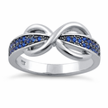 Sterling Silver Infinity Pave Blue CZ Ring