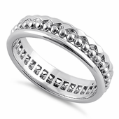 Sterling Silver Jagged Pattern Eternity Band