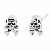 Sterling Silver Jolly Roger Skull Earrings