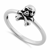 Sterling Silver Jolly Roger Skull Ring