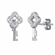 Sterling Silver Key CZ Earrings