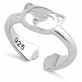 Sterling Silver Kitty Cat Toe Ring