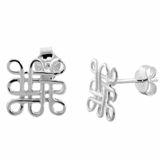 Sterling Silver Knotted Square Earrings