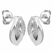 Sterling Silver Leaf CZ Earrings