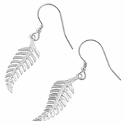 Sterling Silver Leaf Dangle Hook Earrings