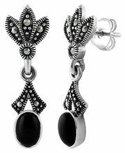 Sterling Silver Leaves Drop Oval Black Onyx Marcasite Earrings