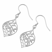 Sterling Silver Leaves Hook Earrings