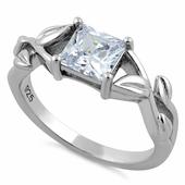 Sterling Silver Leaves Vines Princess Cut Clear CZ Ring