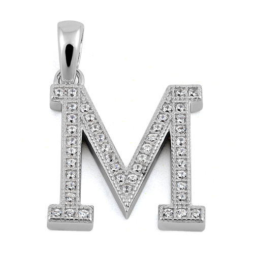 sterling silver letter m cz pendant With sterling silver letter m pendant