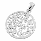 "Sterling Silver ""Live Laugh Love"" Round Pendant"