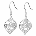 Sterling Silver Lotus Flower Hook Earrings