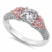 Sterling Silver Majestic Two Tone Rose Gold Plated Round Cut Clear & Pink CZ Ring