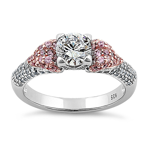 Silver Majestic Two Tone Rose Gold Plated Round Cut Clear & Pink ...