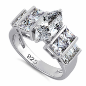 Sterling Silver Marquise Cut Engagement Clear CZ Ring