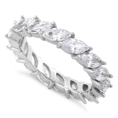 absolute cz cubic band ring row pav d eternity sterling pave products silver zirconia bands