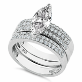 Sterling Silver Marquise Engagement CZ Set Ring