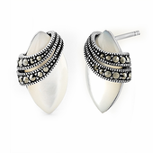 Sterling Silver Marquise Mother of Pearl Marcasite Earrings
