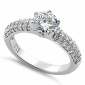 Sterling Silver Marvelous Round Cut Clear CZ Engagement Ring
