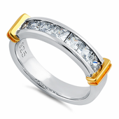 Sterling Silver Men's Two Tone Yellow Gold Wedding Band CZ Ring