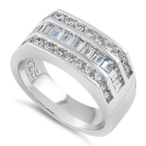 Sterling Silver Mens Engagement CZ Rings