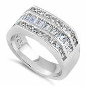 Sterling Silver Men's Engagement CZ Rings