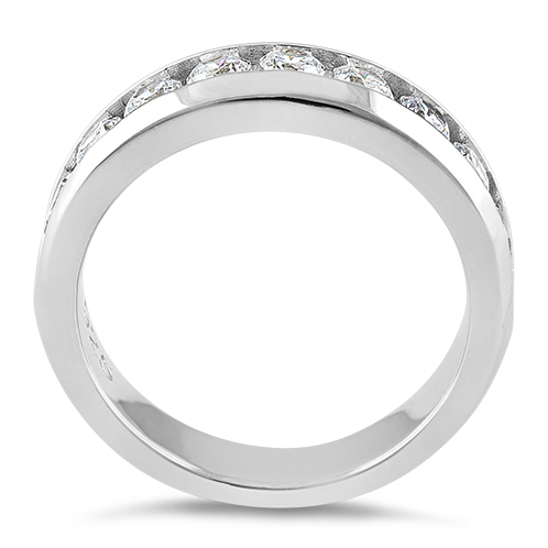 sterling silver mens wedding band cz rings
