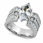 Sterling Silver Modern Marquise Cut Engagement CZ Ring