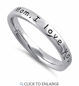 """Sterling Silver """"Mom, I love you with all my heart"""" Ring"""