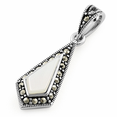 Sterling Silver Mother of Pearl Drop Marcasite Pendant