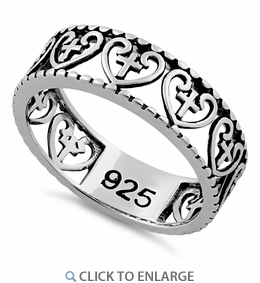 Sterling Silver Multiple Heart and Cross Ring