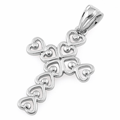 Sterling Silver Multiple Heart Shaped Cross Pendant