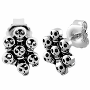 Sterling Silver Multiple Skull Stud Earrings