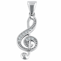 Sterling Silver Music Note CZ Pendant